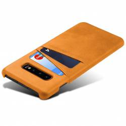 Твърд кожен кейс с джобове за карти за Samsung Galaxy S10