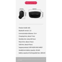 52431 - TWS A6s Bluetooth безжични стерео слушалки с микрофон - 100101945